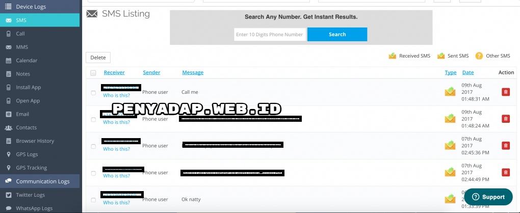 Panel Monitoring penyadap SMS dengan  auto forward